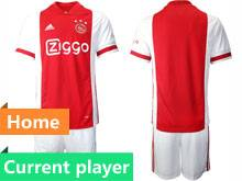 Mens 20-21 Soccer Afc Ajax Club Current Player Red Home Short Sleeve Suit Jersey