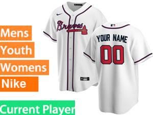 Mens Womens Youth Nike 2020 Atlanta Braves White Cool Base Current Player Jersey