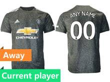 Mens 20-21 Soccer Manchester United Club Current Player Black Away Thailand Short Sleeve Jersey