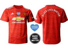 Mens 20-21 Soccer Club Manchester United ( Custom Made ) Blm Black Lives Matter Red Home Short Sleeve Jersey