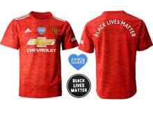 Mens 20-21 Soccer Club Manchester United ( Custom Made ) Blm Black Lives Matter Red Home Short Sleeve Jersey