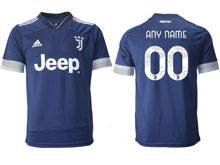 Mens 20-21 Soccer Juventus Club ( Custom Made ) Blue Away Thailand Short Sleeve Jersey