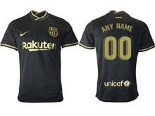 Mens 20-21 Soccer Barcelona Club ( Custom Made ) Black Away Thailand Short Sleeve Jersey