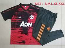 Mens 20-21 Soccer Manchester United Club Black Red Short Sleeve And Black Sweat Pants Training Suit