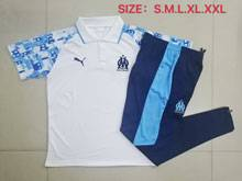 Mens 20-21 Soccer Olympique De Marseille Club White Polo Shirt And Navy Sweat Pants Training Suit