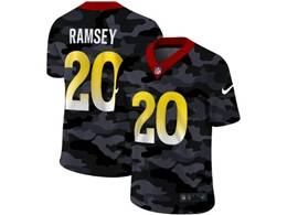 Mens Nfl Los Angeles Rams #20 Jalen Ramsey 2020 Nike Camo Salute To Service Limited Jersey