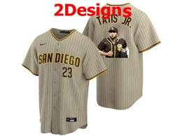 Mens Mlb San Diego Padres #23 Fernando Tatis Jr. Cream Stripe Cool Base Nike Jersey 2 Designs