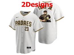 Mens Mlb San Diego Padres #23 Fernando Tatis Jr. White Stripe Cool Base Nike Jersey 2 Designs