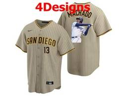 Mens Mlb San Diego Padres #13 Manny Machado Cream Stripe Cool Base Nike Jersey 4 Designs
