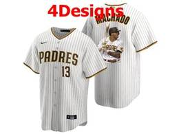 Mens Mlb San Diego Padres #13 Manny Machado White Stripe Cool Base Nike Jersey 4 Designs