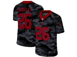Mens Nfl New York Giants #26 Saquon Barkley 2020 Nike Camo Red Number Vapor Untouchable Limited Nike Jersey
