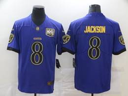 Mens Nfl Baltimore Ravens #8 Lamar Jackson Purple Golden Vapor Untouchable Limited Jersey