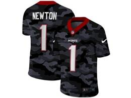 Mens Nfl New England Patriots #1 Cam Newton 2020 Nike Camo Salute To Service Limited Jersey