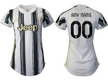 Women 20-21 Soccer Juventus Club ( Custom Made ) White Black Stripe Home Thailand Short Sleeve Jersey