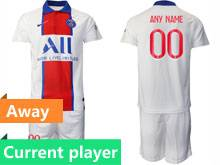 Mens 20-21 Soccer Paris Saint Germain Current Player White Away Short Sleeve Suit Jersey