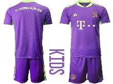 Kids 20-21 Soccer Bayern Munchen ( Custom Made ) Purple Goalkeeper Short Sleeve Suit Jersey
