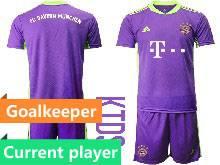 Baby 20-21 Soccer Bayern Munchen Current Player Purple Goalkeeper Short Sleeve Suit Jersey