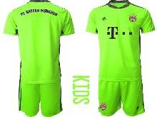 Kids 20-21 Soccer Bayern Munchen ( Custom Made ) Green Goalkeeper Short Sleeve Suit Jersey