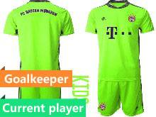 Kids 20-21 Soccer Bayern Munchen Current Player Green Goalkeeper Short Sleeve Suit Jersey