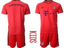 Kids 20-21 Soccer Bayern Munchen ( Custom Made ) Red Goalkeeper Short Sleeve Suit Jersey