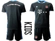 Baby 20-21 Soccer Bayern Munchen ( Custom Made ) Black Goalkeeper Short Sleeve Suit Jersey