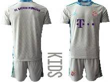 Kids 20-21 Soccer Bayern Munchen ( Custom Made ) Gray Goalkeeper Short Sleeve Suit Jersey