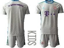 Baby 20-21 Soccer Bayern Munchen ( Custom Made ) Gray Goalkeeper Short Sleeve Suit Jersey