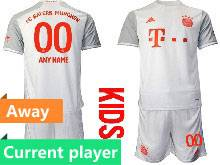 Kids 20-21 Soccer Bayern Munchen Current Player White Away Short Sleeve Suit Jersey