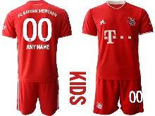 Kids 20-21 Soccer Bayern Munchen ( Custom Made ) Red Home Short Sleeve Suit Jersey