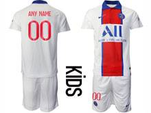 Kids 20-21 Soccer Paris Saint Germain ( Custom Made ) White Away Short Sleeve Suit Jersey