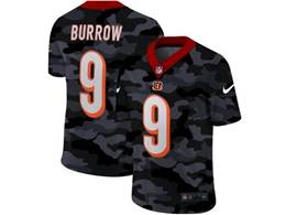 Mens Nfl Cincinnati Bengals #9 Joe Burrow 2020 Nike Camo Salute To Service Limited Jersey
