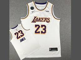 Mens Nba Los Angeles Lakers #23 Lebron James White Kb Nike Swingman Round Neck Jersey