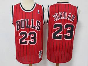 Mens Nba Chicago Bulls #23 Michael Jordan Red Stripe Mitchell&ness Hardwood Classics Reload Swingman Mesh Jersey