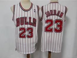 Mens Nba Chicago Bulls #23 Michael Jordan White Stripe Hardwood Classics Reload Swingman Jersey