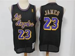 Mens Nba Los Angeles Lakers #23 Lebron James Black Hardwood Classics Reload Swingman Jersey