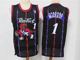 Mens Nba Toronto Raptors #1 Tracy Mcgrady Black Stripe Hardwood Classics Reload Swingman Jersey