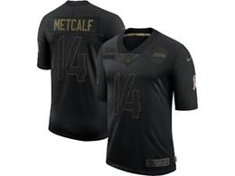 Mens Nfl Seattle Seahawks #14 Dk Metcalf Black Nike 2020 Salute To Service Limited Jersey