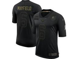 Mens Nfl Cleveland Browns #6 Baker Mayfield Black Nike 2020 Salute To Service Limited Jerseyy