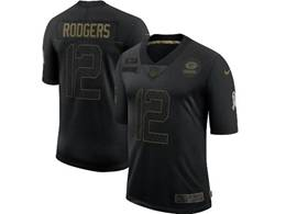Mens Women Youth Nfl Green Bay Packers #12 Aaron Rodgers Black Nike 2020 Salute To Service Limited Jersey