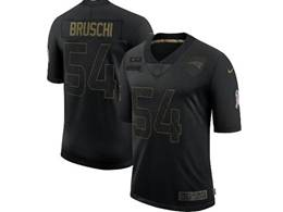 Mens Nfl New England Patriots #54 Tedy Bruschi Black Nike 2020 Salute To Service Retired Limited Jersey