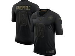 Mens Nfl San Francisco 49ers #10 Jimmy Garoppolo Black Nike 2020 Salute To Service Limited Jersey