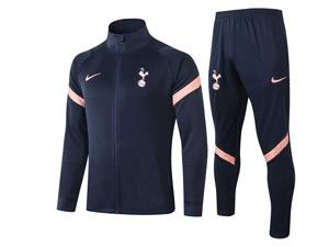 Mens Youth 20-21 Soccer Tottenham Hotspur Club Blue Long Sleeve Jersey And Blue Pants Training Suit