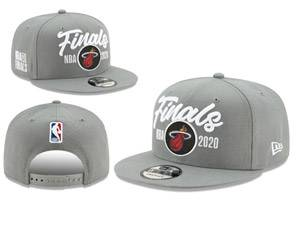Mens Nba Miami Heat Gray 2020 Finals Snapback Adjustable Flat Hats