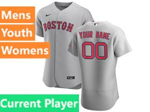 Mens Nike Boston Red Sox Gray 2020 Flex Base Current Player Road Jersey