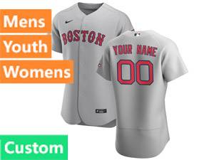 Mens Majestic Boston Red Sox Custom Made 2020 Nike Gray Flex Base Road Jersey