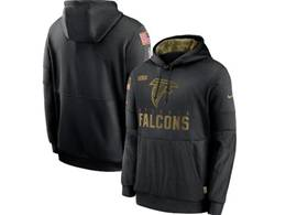 Mens Women Youth Nfl Atlanta Falcons Black 2020 Salute Pocket Pullover Hoodie Nike Jersey