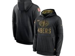 Mens Women Youth Nfl San Francisco 49ers Black 2020 Salute Pocket Pullover Hoodie Nike Jersey