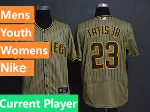 Mens San Diego Padres Current Player Alternate 2020 Nike Cream Stripe Flex Base Jersey