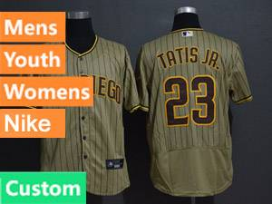 Mens San Diego Padres Custom Made Alternate 2020 Nike Cream Stripe Flex Base Jersey