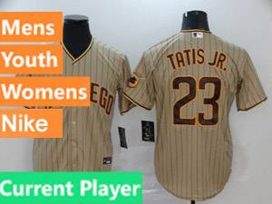 Mens Womens Youth San Diego Padres Current Player Alternate 2020 Nike Cream Stripe Cool Base Jersey